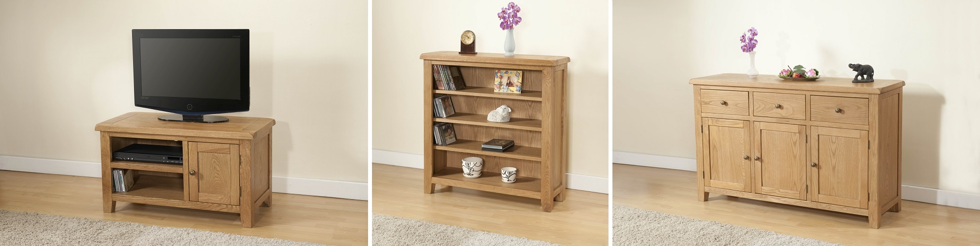 Cotswold rustic light oak living room furniture oak furniture uk for Living room furniture ranges