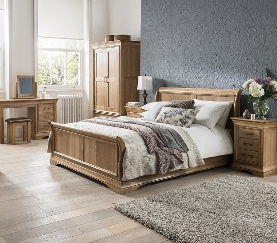 French Style American White Oak Bedroom Furniture