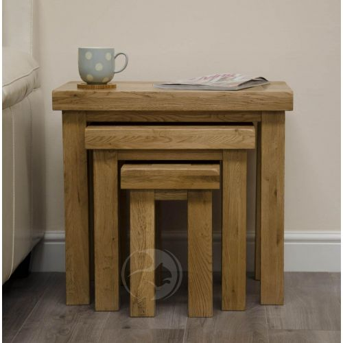 Coniston Rustic Solid Oak Nest of Tables