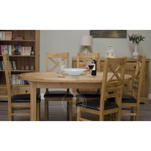 Coniston Rustic Solid Oak Oval Extending Dining Table