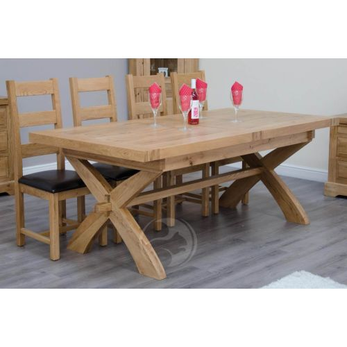 Coniston Rustic Solid Oak X Leg Extending Dining Table