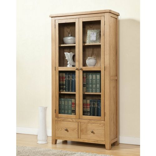 Cotswold Rustic Light Oak Display Cabinet