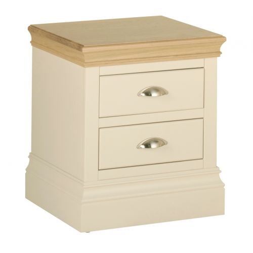 Country Oak and Painted 2 Drawer Bedside Chest