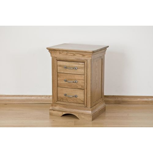 French Style Solid American White Oak 3 Drawer Bedside Chest