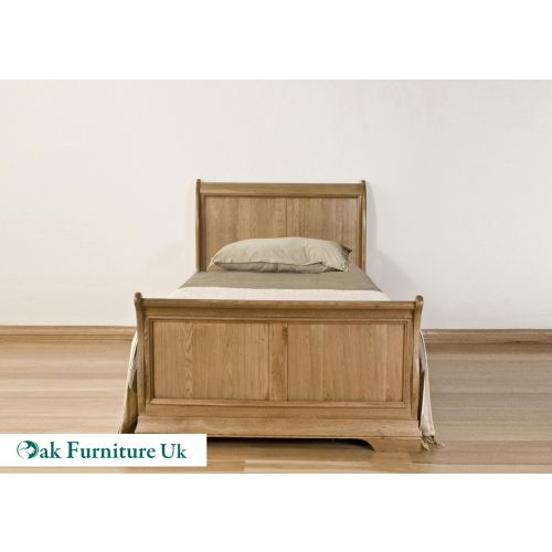 French Style Solid American White Oak 3' Single Sleigh Bed
