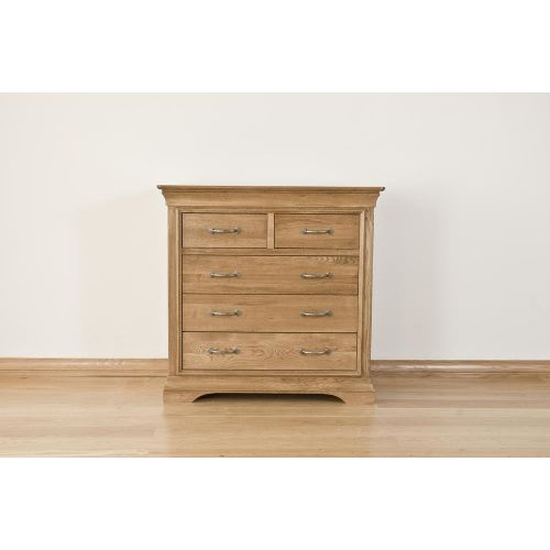 French Style Solid American White Oak 5 Drawer Chest