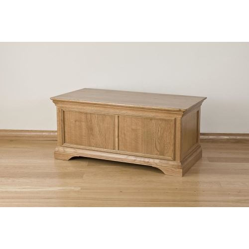 French Style Solid American White Oak Blanket-Storage Box