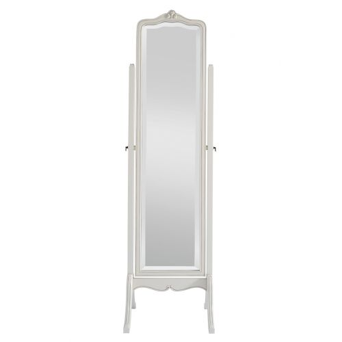 Louis French Ivory Painted Cheval Mirror