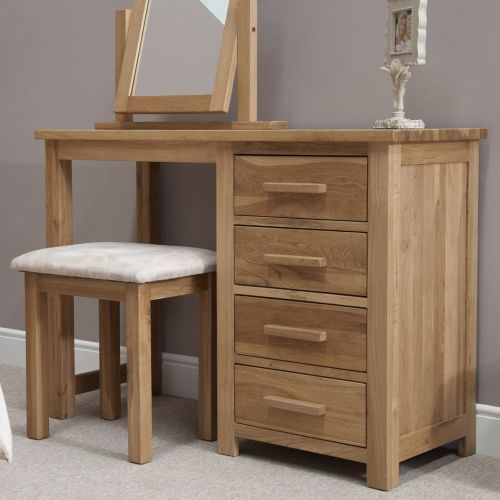 Opus Solid Oak Single Pedestal Dressing Table and Stool