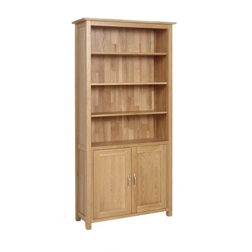 Oxford Contemporary Oak Tall Bookcase with Storage Cupboard