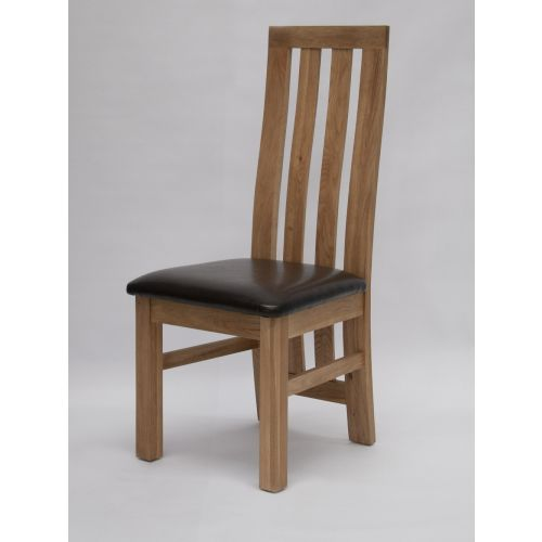 Paris Solid Oak Dining Chair Brown Seat Pad