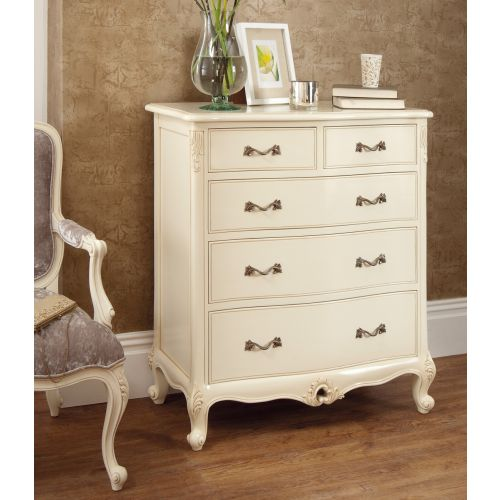 Régency French mid-18th Century Ivory White 5 Drawer Chest