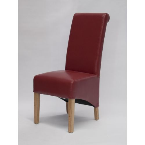 Richmond Red Leather Dining Chair Solid Oak Legs