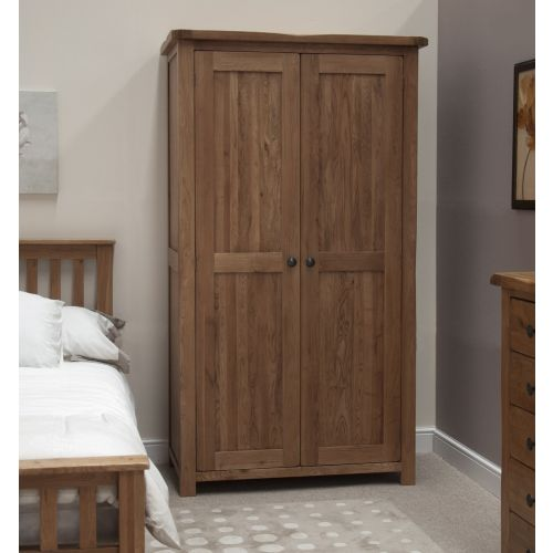 Rustic Solid Oak 2 Door Double Wardrobe