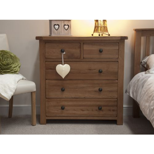 Rustic Solid Oak 5 Drawer Chest
