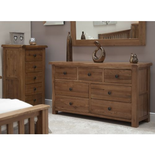 Rustic Solid Oak 7 Drawer Wide Chest