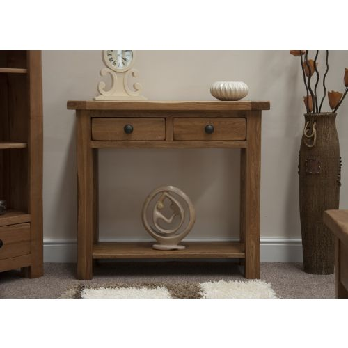 Rustic Solid Oak Hall Console Table