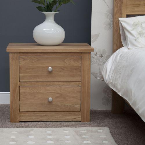 Torino Solid Oak 2 Drawer Wide Bedside Chest