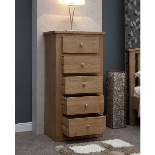 Torino Solid Oak 5 Drawer Tall Chest
