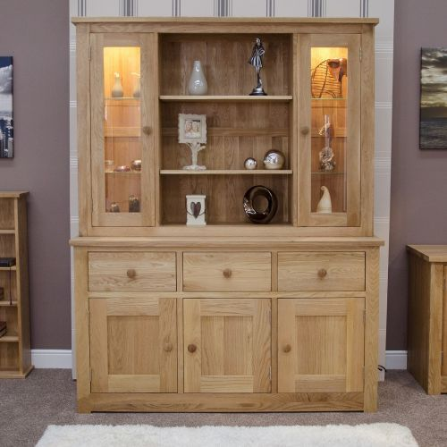 Torino Solid Oak Large Display Unit/ Welsh Dresser
