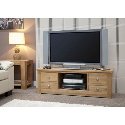 Torino Solid Oak Large Plasma TV Unit