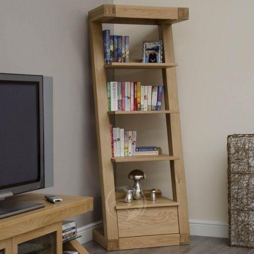 Z Shape Solid Oak 1 Drawer Narrow Bookcase