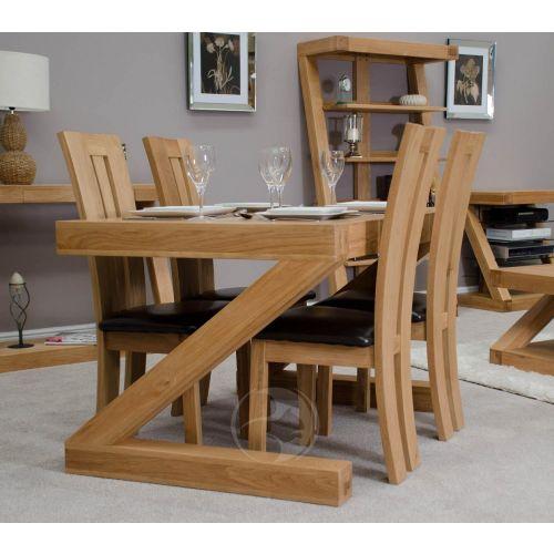 Z Shape Solid Oak 4x3 Dining Table