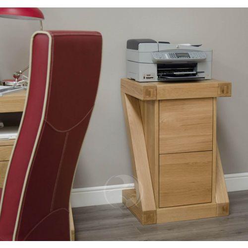 Z Shape Solid Oak Filing Cabinet