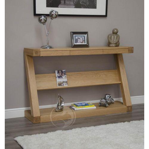Z Shape Solid Oak Hall/ Console Table with Shelf