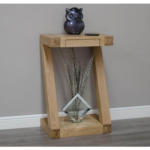 Z Shape Solid Oak Hall/ Telephone Table
