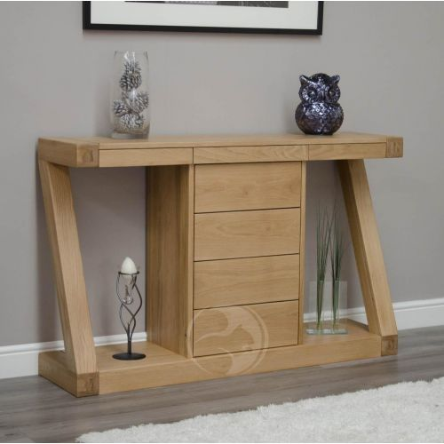Z Shape Solid Oak Large Hall/ Console Table with Drawers