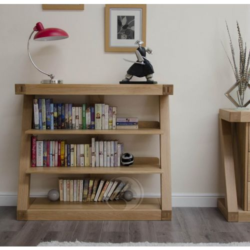 Z Shape Solid Oak Small Bookcase
