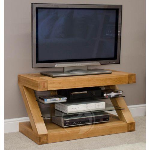 Z Shape Solid Oak TV Unit