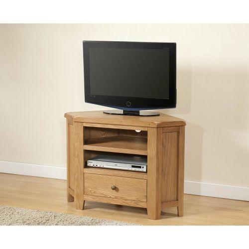Cotswold Rustic Light Oak Corner TV Unit