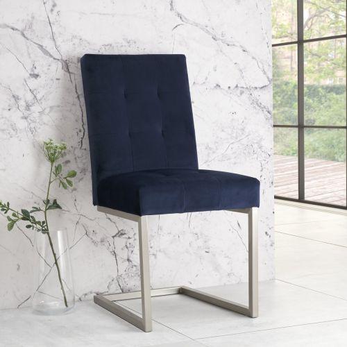 Tivoli Cantilever Dining Chair - Dark Blue Velvet (Pair)