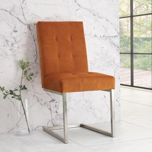 Tivoli Cantilever Dining Chair - Harvest Pumpkin Velvet (Pair)