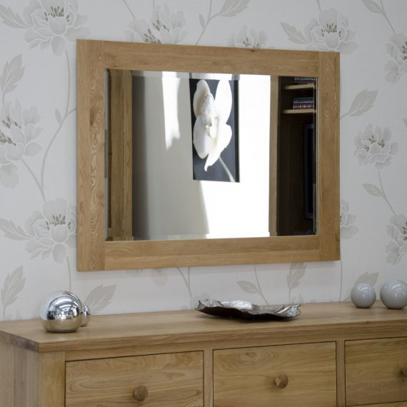 102cm x 72cm Solid Oak Wall Mirror