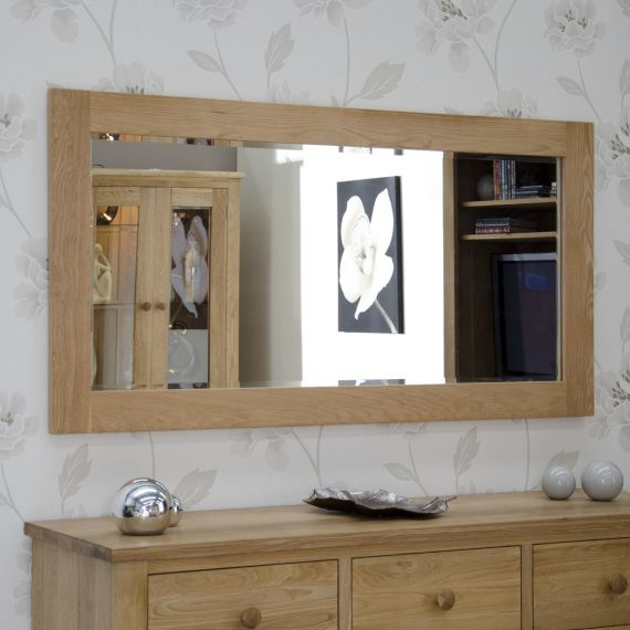 150cm x 75cm Solid Oak Wall Mirror