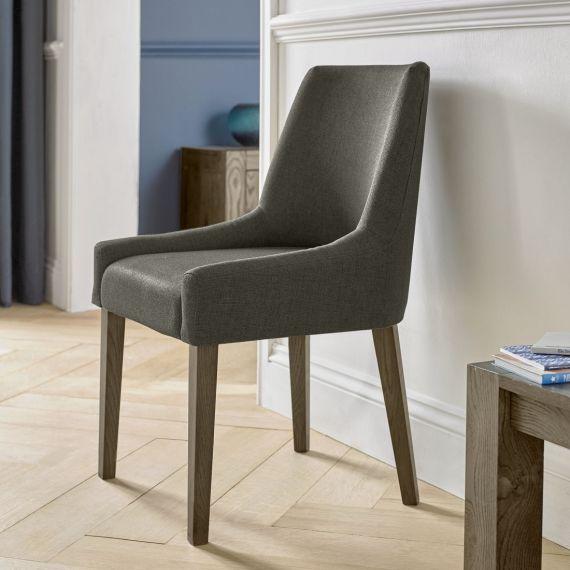 Ella Dark Oak Scoop Back Dining Chair - Black Gold Fabric (Pair)