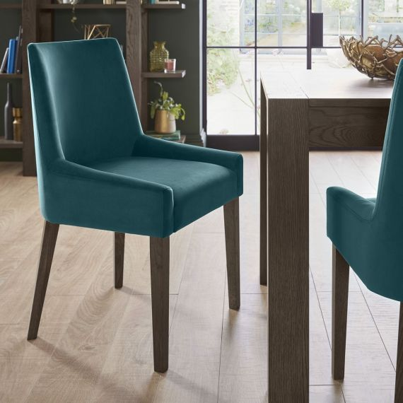 Ella Dark Oak Scoop Back Dining Chair - Sea Green Velvet (Pair)