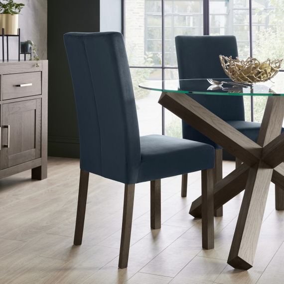 Parker Dark Oak Square Back Dining Chair - Dark Blue Velvet (Pair)