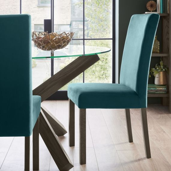 Parker Dark Oak Square Back Dining Chair - Sea Green Velvet (Pair)