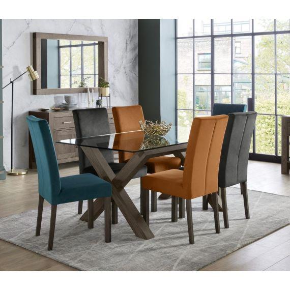 Turin Dark Oak 6 Seater Glass Top Dining Table