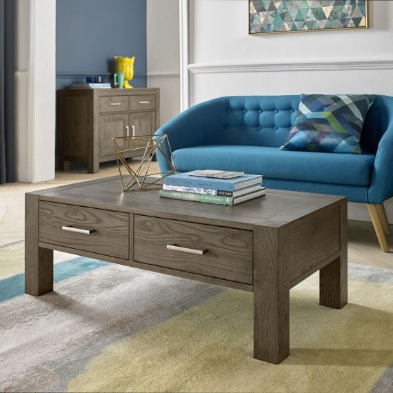 Turin Dark Oak Coffee Table with Drawers