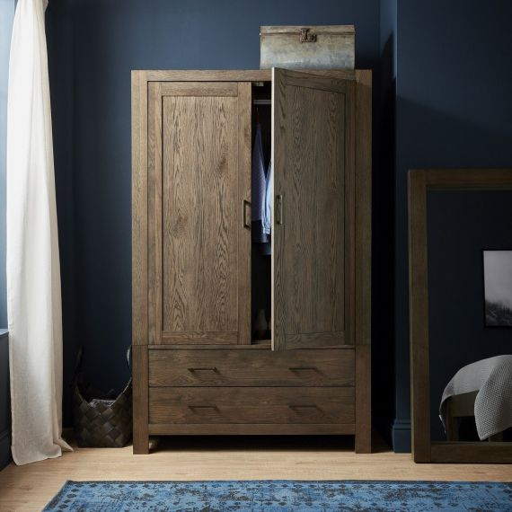 Turin Dark Oak Large Double Wardrobe with Drawers