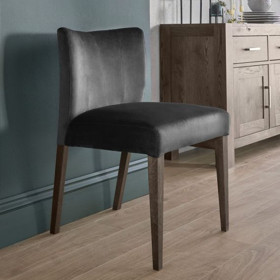 Turin Dark Oak Low Back Dining Chair - Gun Metal Velvet (Pair)