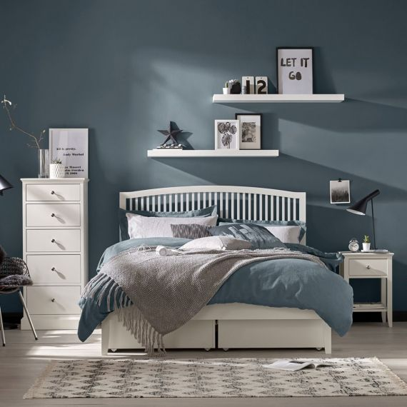 Ashby White Painted Slatted Small Double Bed - Ashby Bedroom Furniture