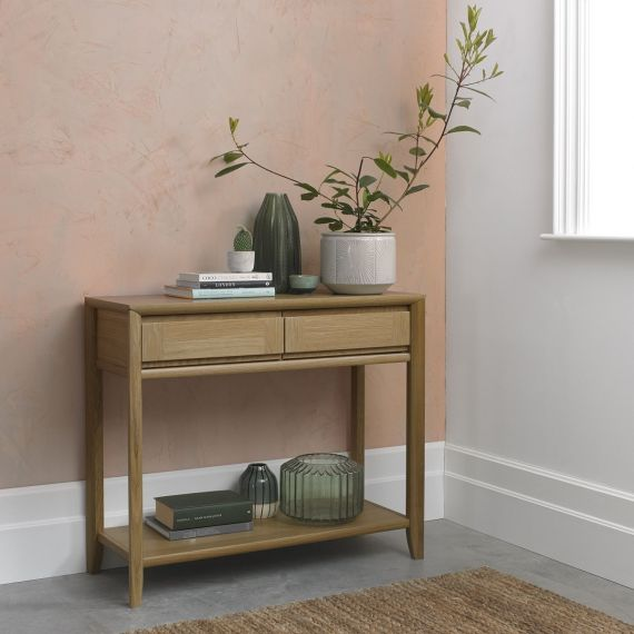 Bergen Oak Console Table with Drawers