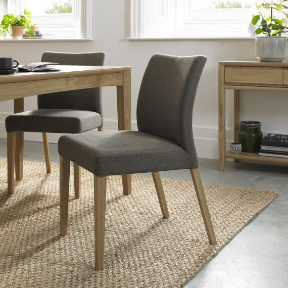 Bergen Oak Upholstered Dining Chair - Black Gold Fabric (Pair)