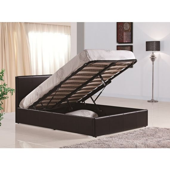 Berlin Leather Ottoman Bed - Brown
